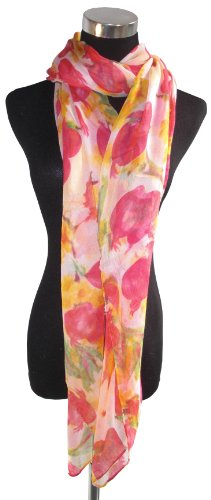Large Dark Pink, White Green and Yellow Fashion Chiffon Scarf or Sarong