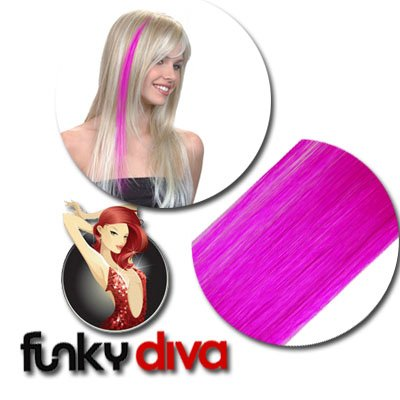 Hairaisers Funky Diva - Colour Flash 16 inch Highlight Hair Extensions - Cerise Pink