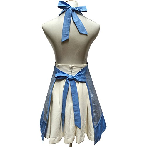 Lovely Sweetheart Retro Kitchen Aprons Woman Girl Cotton Cooking Salon Pinafore Vintage Apron Dress with Pocket,Blue 2