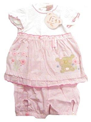 Zip Zap Baby Baby Girl Pretty Striped Kuala Bear Summer Short Sleeve Dress With Shorts Gift Set - CLEARANCE