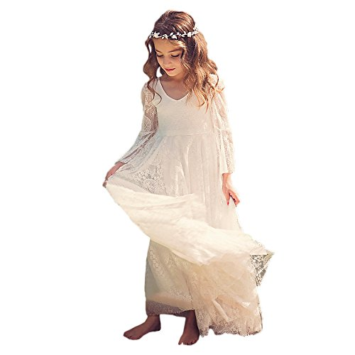 Bohemian Country Beach Long Lace Flower Girl Bohemian Dresses with Sleeves 0
