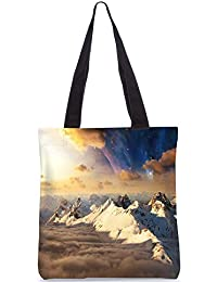 Snoogg Everst Top With Clouds Digitally Printed Utility Tote Bag Handbag Made Of Poly Canvas