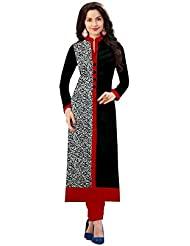 Angel Sales Black & Red Cotton Printed Kurti Semi Stiched