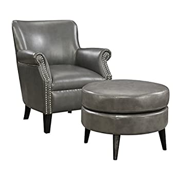 Emerald Home Oscar Gray Accent Chair And Ottoman with Faux Leather Upholstery And Nailhead Trim