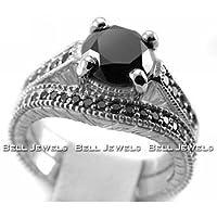 3.20ct Fancy-Black Diamond Engagement and Wedding Ring Band Set 14k White Gold Antique Style