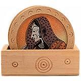 Saudeep India Trading Corporation Gemstone Painting Wooden Tea Coasters Gift Set (111, Brown)