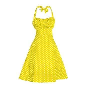 V Fashion Women's Rockabilly 50s Vintage Polka Dots Halter Cocktail Swing Dress