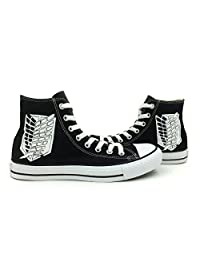 Unisex Converse All Star Attack on Titan Black High Top Hand Painted Canvas Shoes