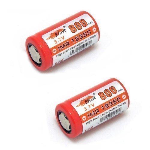 Efest 18350 IMR V1 Lot de 2 piles à sommet plat 800 mAh 3,7 V