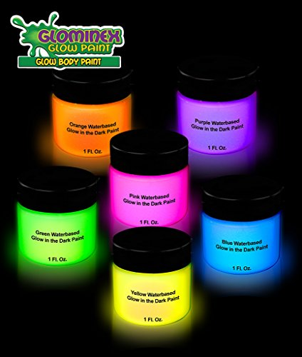 6ct glominex glow in the dark face and body paint 1 oz - Glow in the dark paint colors ...