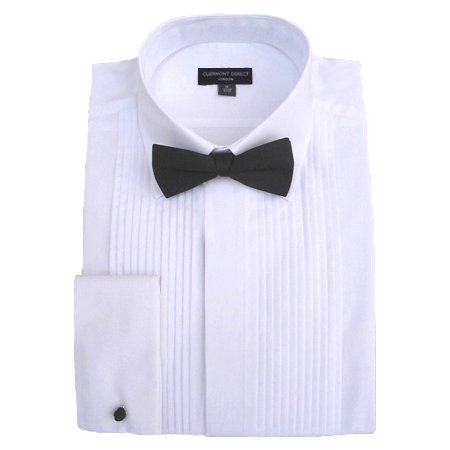 Poly-Cotton Pleated Fold Down Collar Dress Shirt 17
