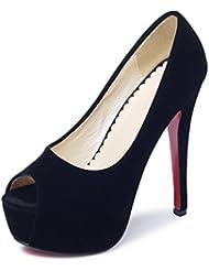 Fereshte Women S Peep Toe Faux Suede Pumps Heeled Shoes