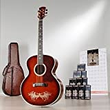 Esteban Amber Ice Jumbo Acoustic Electric Guitar Package w/ 10 DVDs and Accessories - Blem