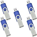 ARETOP 5pcs 8GB Swivel USB Flash Drive Memory Stick Blue