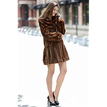 Adelaqueen Women's Vintage Style Luxury Faux Fur Coat with Lotus Ruffle Collar