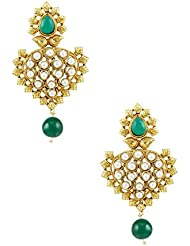 Rajwadi Artificial Earrings In Emerald Color With Golden Polish
