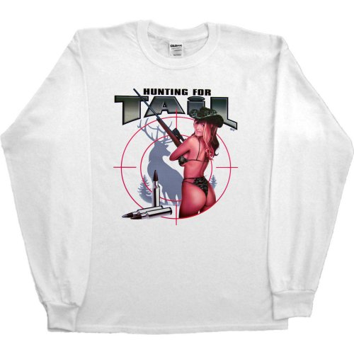 MENS LONG-SLEEVE T-SHIRT : WHITE - LARGE - Hunting for Tail - Funny Deer Hunting Pin Up Girl