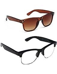 New Stylish UV Protected Combo Pack Of Sunglasses For Women / Girl ( BrownWayfarer-ClearHFWayfarer ) ( CM-SUN-...