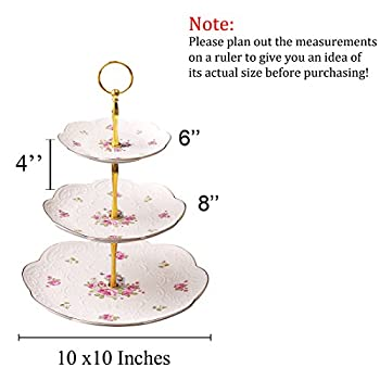 Jusalpha Elegant Embossed Porcelain 3-tier Cake Stand/ Cupcake Stand/ Tea Party Pastry Serving platter in Gift Box (FL-Stand 03) (3 Tier)