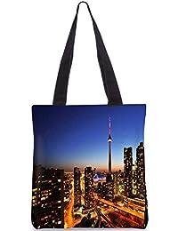 Snoogg Building Top Digitally Printed Utility Tote Bag Handbag Made Of Poly Canvas - B01C8M8OLE