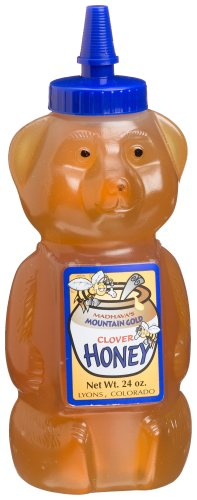 Madhava Pure Clover Honey Bear, 24-Ounce Bottles (Pack of 4)