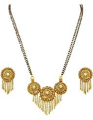JFL - Traditional Ethnic One Gram Gold Plated Austrian Diamond Pearls Designer Mangalsutra Jewellery Set With...