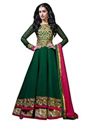 Jay Sarees Women Faux Georgette Green Anarkali