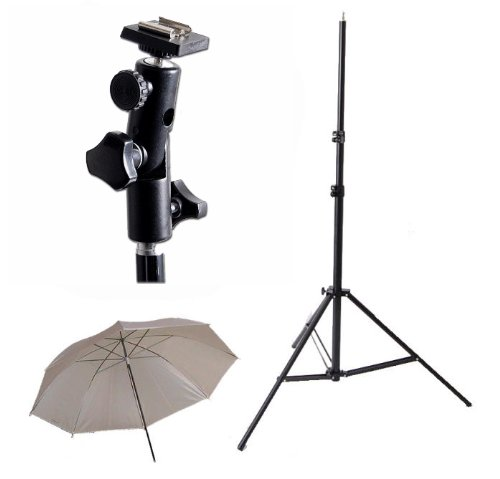 CowboyStudio Single Flash Shoe Swivel Bracket Kit with 1 Mounting Bracket, 1 Umbrella, and 1 Stand Stand