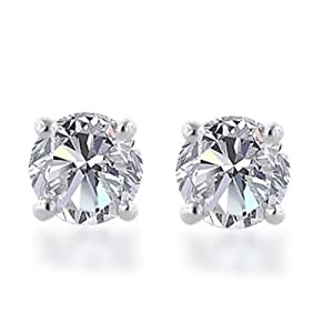 10k Gold, Round, Diamond Stud Earrings (1/10 cttw, J-K Color, I2-I3 Clarity)