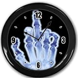 Flip the finger Wall Clock Black Great Unique Gift Idea