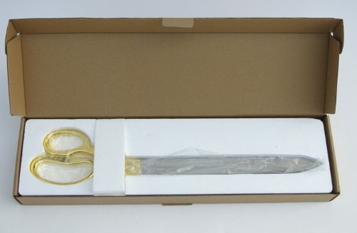 """FREE Grand Opening Ribbon with 20"""" Gold Plated Handles Ceremonial Ribbon Cutting Scissors and Case"""