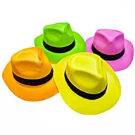 Novelty Place® [Party Stars] Neon Color Plastic Gangster Fedora Party Hats for Adult Teens and Kids…