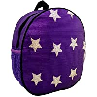 Girls Purple Sequin Sparkle Stars Dance Backpack Medium Girls 4-9 Backpack