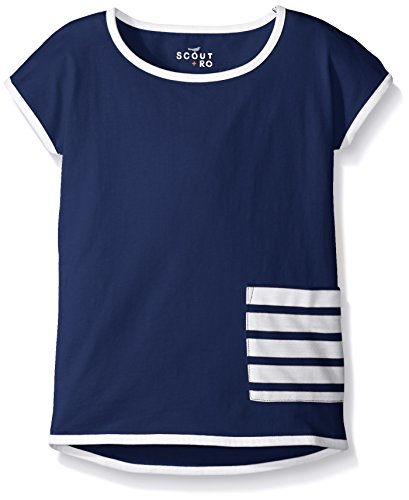 Scout + Ro Girls' Jersey Tunic With Stripe Pocket, Flag Blue, 4