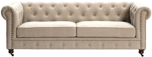 Awesome Gordon Tufted Sofa, 32HX91X38D, NATURAL LINEN