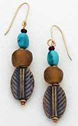 Earrings - Recycled Glass, Turquoise &amp; Brass