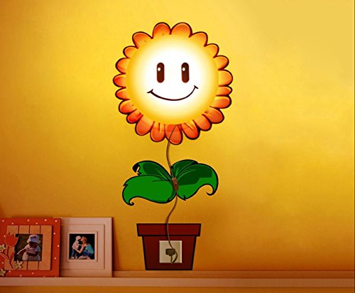 Jesiya 3D Wallpaper Novelty Cartoon Wall Stickers Home Room Decor Decoration LED Night Light Lamp for Kids' Bedroom (Sunflower)