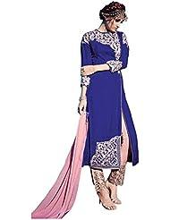Winza Party Wear Royal Blue Coloured Velvet Embroidered Salwar Kameez