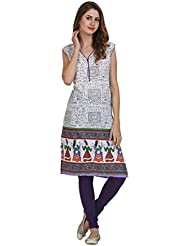 Miavii Women Self Design Border Printed Cotton Kurti