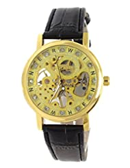GT Gala Time Skeleton Mechanical Hand Winding Black Leather Strap Gold Case Wrist Watch For Men GT-MECH-021