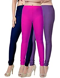 Fashion And Freedom Women's Pack Of 3 Navy,Magenta And Purple Satin Leggings