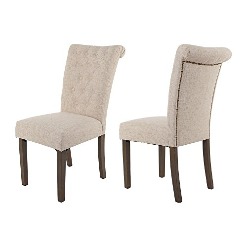 Merax Luxurious Fabric Dining Chairs with Solid Wood Legs Set of 2 (Beige) 0