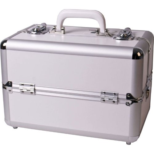 14 inch White Aluminum Customizable Professional Cosmetic Carry Case Train Case Style Makeup Organizer