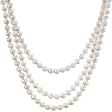 HinsonGayle Glamour Collection Handpicked Ultra-Luster 7.0-7.5mm White Circlé Baroque Cultured Pearl Rope Necklace (65 Inches)