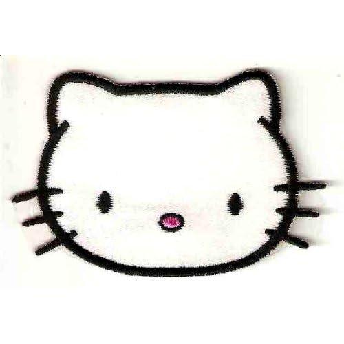 Dear Daniel / Hello Kitty head - no bow black outline Embroidered Iron