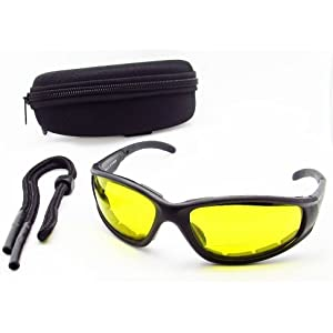 Yellow Lens Night Vision Motorcycle Bifocal Sunglasses foam padded 2.50 for Men and Women. Free Hard Case and