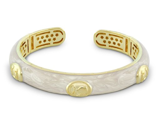 Lauren G Adams Beautiful Pearlized Creamy Ivory Enamel Double Hinged Cuff Bracelet in 18k Gold With Equestrian Horse Lover Designs Size SMALL
