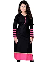 Clothfab Women's Cotton 3/4 Sleeve Plain Solid Casual Kurti Size : XL (Black Pink)