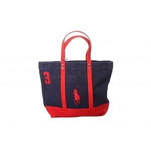 Ralph Lauren Dark Blue Big Pony White Canvas Handbag .