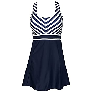 Women's One Piece Tankini Plus Size Swimdress Sailor Vintage Swimsuit